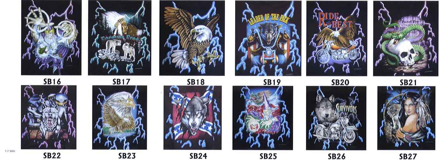 Thunder Wizard Wolf Indian Eagle Motorcycle Snake Skull Pitbull Rebel Flag